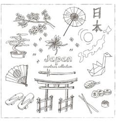 Hand drawn doodle Japan symbols set vector image