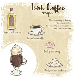 Hand drawn of irish coffee recipe with list of vector