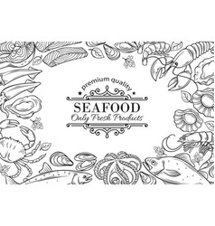 Hand drawn seafood restaurant menu vector