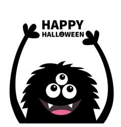 happy halloween smiling monster head silhouette vector image