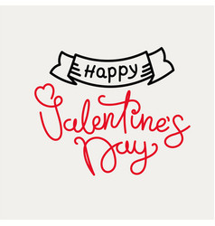 happy valentines day concept banner with linear vector image