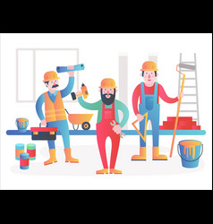 Home workers characters team friendly vector