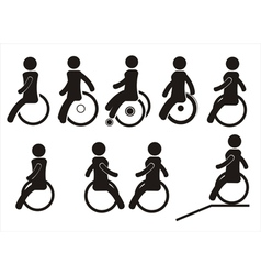 Icons of disabled people on the wheel chairs vector image