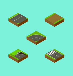 Isometric road set of bitumen strip underground vector