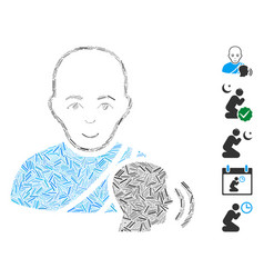 Line mosaic buddhist confession icon vector