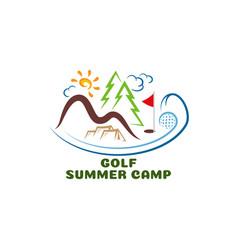 Logo golf summar camp fun cartoon vector