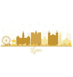 Lyon france city skyline silhouette with golden vector