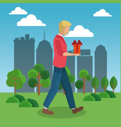 man walking with gift box vector image