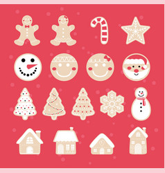 merry christmas gingerbread set vector image