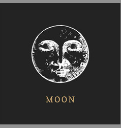 moon hand drawn in engraving style vector image