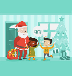 Multicultural children meeting santa claus vector