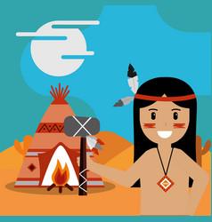 Native american people cartoon vector