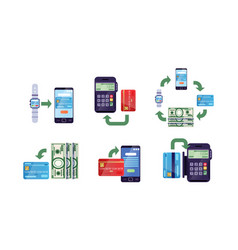 online banking and payment methods collection vector image