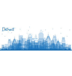 Outline detroit michigan skyline with blue vector