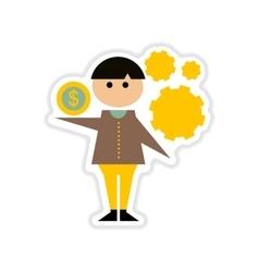 Paper sticker on white background businessman vector