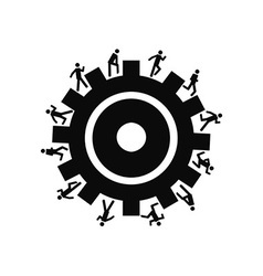 people running around gear vector image
