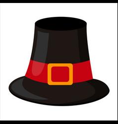 Pilgrim hat thanksgiving symbol isolated flat vector