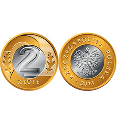polish money two zloty coin vector image