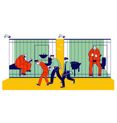 Prisoners in prison jail and policemen people in vector