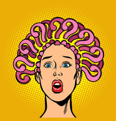question mark hair on head surprised woman vector image