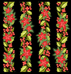 red poinsettia flower pattern seamless holiday vector image