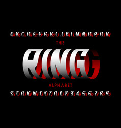 Ring style font three-dimensional capital vector