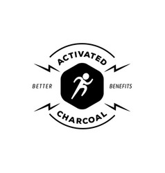 Running man logo with activated charcoal vector