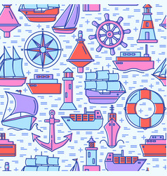 sea seamless pattern with ship icons in colored vector image