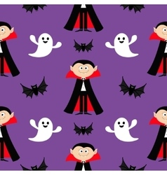 Seamless Pattern Count Dracula flying bat ghost vector
