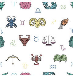 seamless pattern with zodiac signs on white vector image