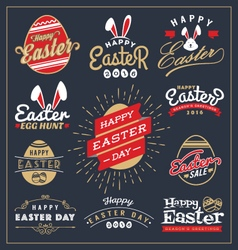 Set easter day typography badge and labels vector