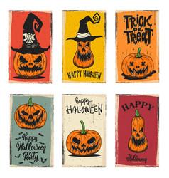 set halloween banners with pumpkins design vector image