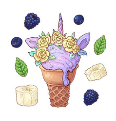 Set ice cream unicorn blackberry banana vector