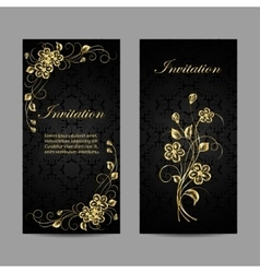 Set of invitation cards design vector image