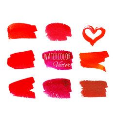 set of red paint brush strokes vector image