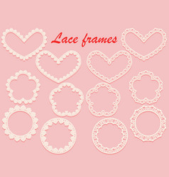 set of white carved framework of various shapes vector image