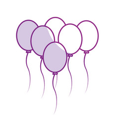 Silhoutte balloons party to happy birthday vector