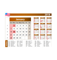 simple calendar 2018 - one year at a glance vector image