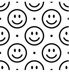 smile icon pattern happy faces on white vector image