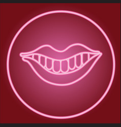 Smile with lips and teeth in neon circle vector