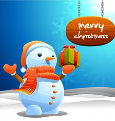 snowman and Christmas sign vector image