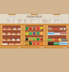 Supermarket grocery store with fresh food vector