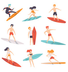 surfer people riding surfboards set young women vector image