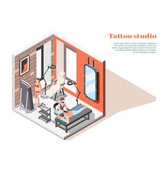 tattoo studio isometric composition vector image