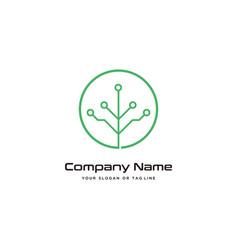 Tree technology logo design modern template vector