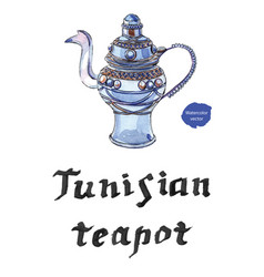 Tunisian blue decorated silver teapot vector