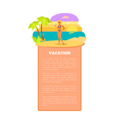 vacation hot summer poster tropical beach woman vector image