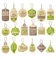 vintage cardboard eco price tags shop organic bio vector image