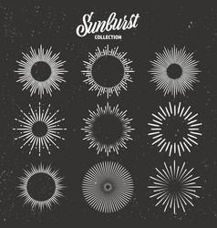 Vintage grunge sunburst collection bursting sun vector
