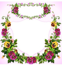 Watercolor Pansy Bouquet Label vector